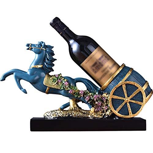 Casa Regalo Botellero Estatua,Caballo Estatuilla Mesa Botellero,Cocina Dicor Regalo Azul 16pulgada