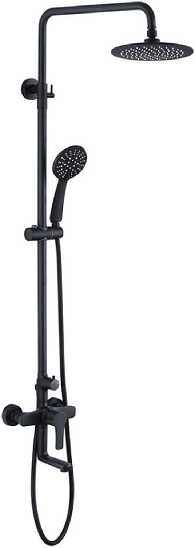 SEEKSUNG Wasserhahn Regendusche für das Badezimmer, Brausemischer-Set mit 9-Zoll-Kopfbrause 3-Funktions-Handbrause Armaturen, schwarz lackiert