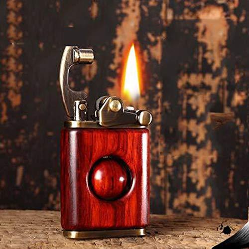 LMYG ouderwetse sigarettenaansteker, rode sandelhout mechanische Rocker aansteker mannen