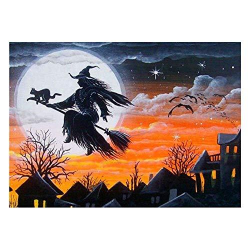 AQgyuh Puzzle 1000 Piezas Imagenes de Halloween Bruja Luna Puzzle 1000 Piezas Animales Educativo Divertido Juego Familiar para niños Adultos Rompecabezas de Juguete de descompresión50x75cm(20x30inch)