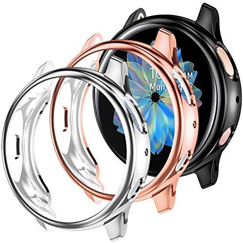 Dirrelo Compatible con Samsung Galaxy Watch Active 2 Protector de Pantalla 40mm, [3 Pack] Funda Protectora de TPU Suave y Resistente a los Arañazos para Samsung Galaxy Active 2, Negro+Plata+Oro Rosa