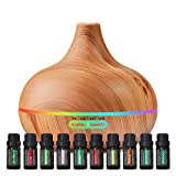 Ultimate Aromatherapy Diffuser & Essential Oil Set - Ultrasonic Diffuser & Top 10 Essential Oils - 400ml Diffuser with 4 Timer & 7 Ambient Light Settings - Therapeutic Grade Essential Oils - Lavender
