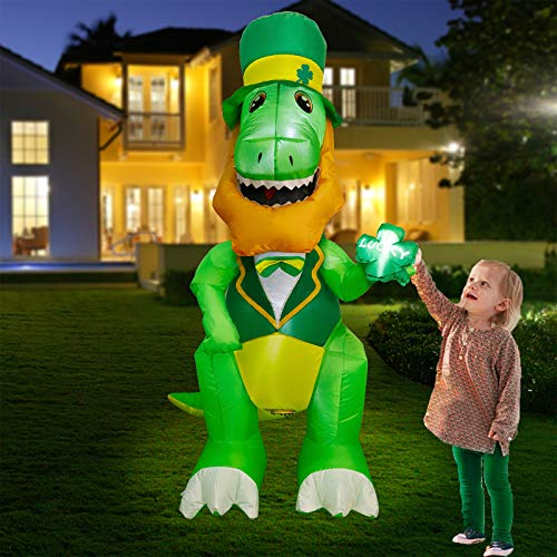 Twinkle Star 5 FT St. Patrick's Day Dinosaur Inflatable Decoration, Lighted Dinosaur with Irish Leprechaun Hats Holding Lucky Shamrocks, Blow Up Indoor Outdoor Holiday Decor Lawn Yard Garden