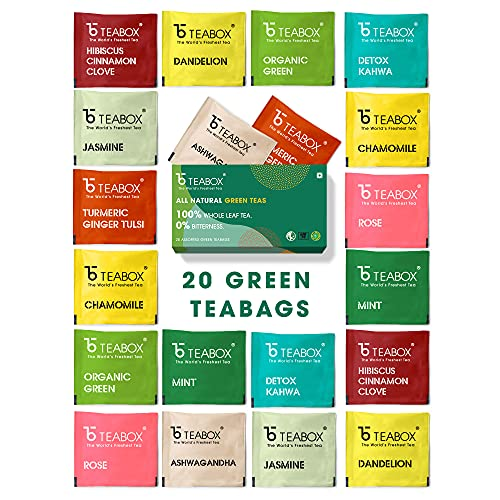 [Apply coupon] Teabox 100% Natural Immunity Boosting Green Tea Sampler, with 10 Different Exotic Flavors - 20 Pyramid Tea Bags