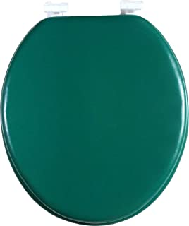 J&V Textiles Soft Round Toilet Seat With Easy Clean & Change Hinge, Padded (Hunter Green)