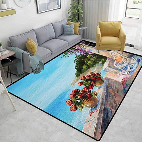 Seascape Animals Girls Rooms Nursery Decor Mats, Sea View Balcony with Cosy Rocking Chair Flowers in Summer Sky Oil Painting Style, Easy Maintenance Area Rug Living Room Bedroom Carpet(3'x 5')