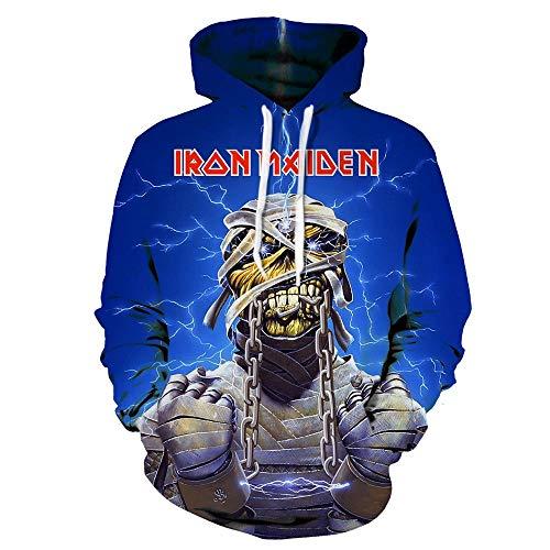 Iron Maiden Pullover Guapo de Primavera y otoño de los Hombres de Cuello Redondo de Manga Larga suéter Camisa de Fondo suéter Unisex (Color : A23, Size : L)