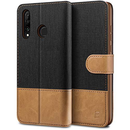 BEZ Handyhülle für Huawei P30 Lite Hülle, Tasche Kompatibel für Huawei P30 Lite, Schutzhüllen aus Klappetui mit Kreditkartenhaltern, Ständer, Magnetverschluss, Schwarz