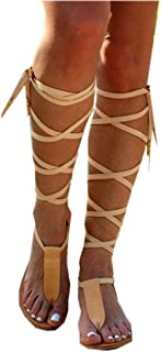 Best Women Gladiator Sandals Flat,Summer Strappy Lace Up Open Toe Knee High Flat Sandal Review