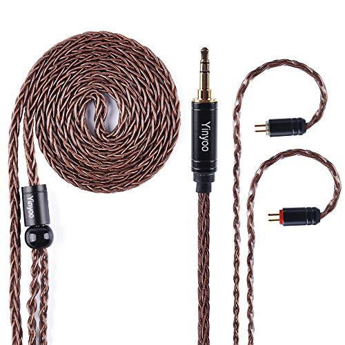 8 kärnor silverpläterad kopparhörlurskabel, brun uppgradering 2 stift avtagbar hörlurskabel ersättning för KZ ZST ZS6 ZS7 TRN V80 V30 TFZ C10 (3,5 mm ljuduttag, 2-stiftskontakt)