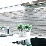 Küchenrückwand Steinschichten Grau Premium Hart-PVC 0,4 mm selbstklebend - Direkt auf die Fliesen, Größe:60 x 51 cm