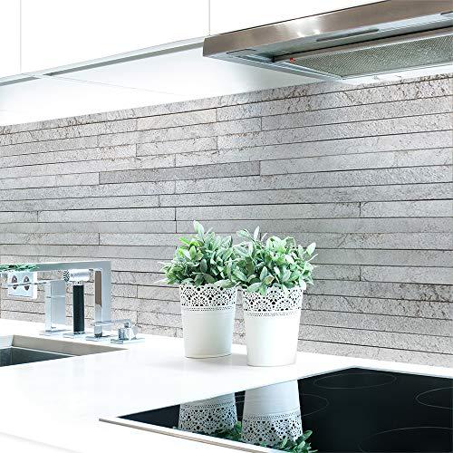 Küchenrückwand Steinschichten Grau Premium Hart-PVC 0,4 mm selbstklebend - Direkt auf die Fliesen, Größe:220 x 60 cm