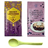 Barissimo Coffee Limit Edition Wild Blueberry Crumble and Honey Lavender Ground Coffee 12oz 340g (Two Bags) + Grace-I-Am stirring Bamboo Spoon