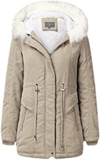 Macondoo Womens Winter Thicken Fleece Lined Faux Fur Hood Anorak Parkas Coats