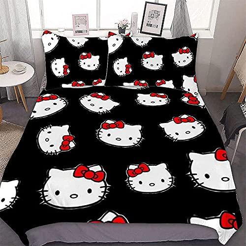 CZBSMGS Hello Kitty - Juego de ropa de cama, diseño de Hello Kitty, funda nórdica de 3 piezas,...