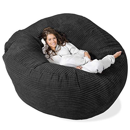 Lounge Pug®, 'Mega-Mammoth' Sofa Sitzsack XXL, Schlafsofa, Cord Schwarz