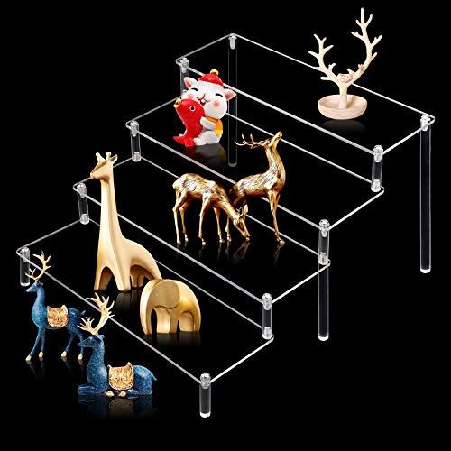 GLAITC Soporte de exhibición de acrílico, 4 Pasos Estante Vertical Transparente Soporte de exhibición de Maquillaje de postres Estante de acrílico Especias para Figuras Pop, Magdalenas, perfumes