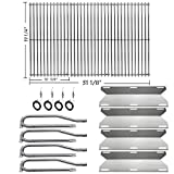 Hisencn Repair kit Replacement for Jenn Air 720-0337, 7200337, 720 0337 Gas Grill Model, 4pack Stainless Steel Burners Pipe Tube, Heat Plates Sheild Tent, Set of 3 Grill Cooking Grid Grates