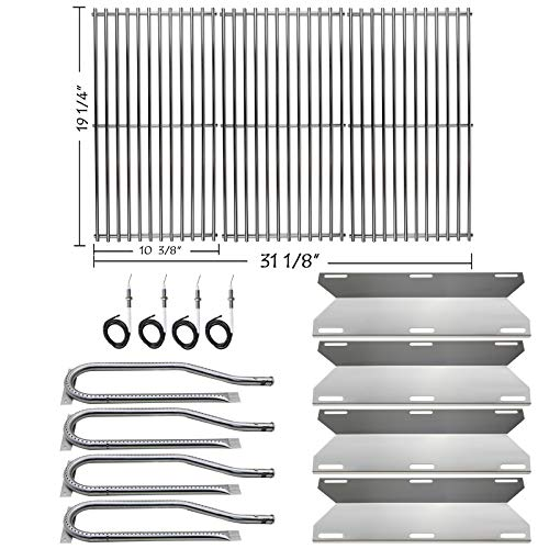 Hisencn Repair kit Replacement for Jenn Air 720-0337, 7200337, 720 0337 Gas Grill Model, 4pack Stainless Steel Burners Pipe Tube, Heat Plates Sheild Tent, Set of 3 Grill Cooking Grid Grates Burners Grill