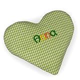 Baby Körnerkissen mit Namen Herzform - Handgefertigtes Wärmekissen oder Kühlkissen - Rapssamenkissen aus Baumwolle, MN_Farbe:apfel