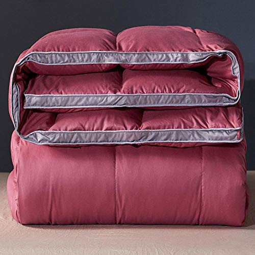 CHOU DAN 4.5 Tog Duvet Single,White & Down Duvet-100% Cotton Anti Dust Mite & Down Proof Fabric-Anti Allergen Winter Quilt-180 * 220cm 3000g_red