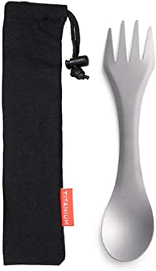 Joyshopping 2-in-1 Titanium Spoon Fork Picnic Traveling Camping Tableware CN -