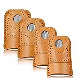 4 Piezas Coser Dedal Protector de Dedo, Protector de Dedo de Dedal Costura, Dedal de Monedas de Cuero Protector de Dedo...