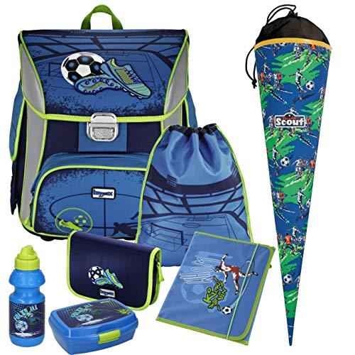 SOCCER BLUE - Fußball Football - Leicht-Schulranzen Set Ranzenset Baggymax SIMY Hama 7tlg. mit MARKEN-SCHULTÜTE, BROTDOSE und TRINKFLASCHE, HEFTMAPPE im Wert von 19,95 EUR gratis dazu