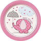 Unique Party 41654 - 17.1 cm Pink Elephant Baby Shower Party Plates, Pack of 8
