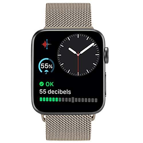 ATUP メタルバンドコンパチブル Apple Watch バンド 38mm 40mm 42mm 44mm,ミラネーゼループ アップルウォッチバンド,コンパチブル iWatch 通用ベルト apple watch series 5/4/3/2/1に対応 交換ベルトステンレス製 (42mm/44mm, シャンパンゴールド)