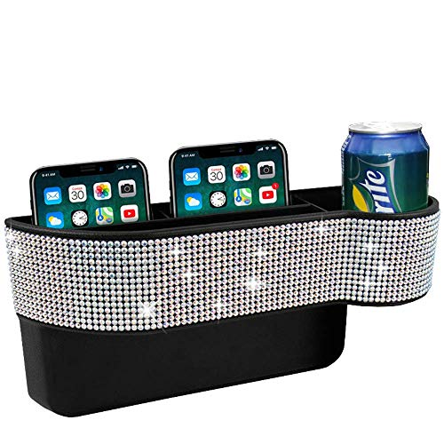 KONGDY Bling Car Seat Pocket Organizer Auto Gap Filler Crystal Car Seat Catcher Console Side Storage Box with Cup Holder for Car Interior Accessories Cellphone Wallet