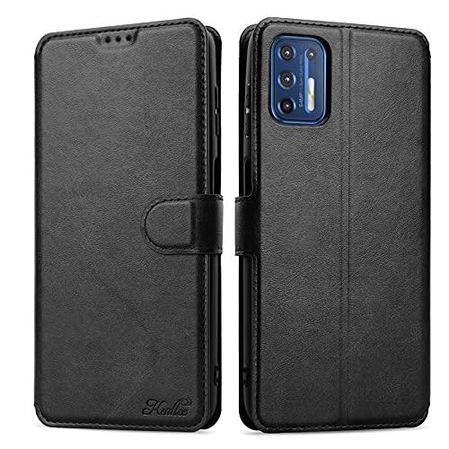 Keallce Lederhülle Kompatibel für Motorola Moto G9 Plus, Handy Hülle PU Leder Brieftasche Handytasche Cover für Motorola Moto G9 Plus Ledertasche - 6.81, Schwarz