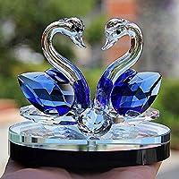 クリスタルガラス動物の白鳥の置物文鎮風水工芸置物置物アート&コレクションホームウェディングデコレーションキッズギフト (ブルー)