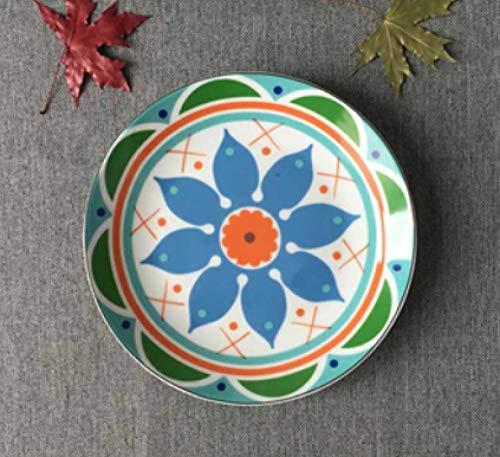 LMMJYF 8 Zoll exotische handbemalte marokkanische Italien Bohemian Style Teller Bunte Salatteller Speisen runde Dekoration Teller Geschenke-1