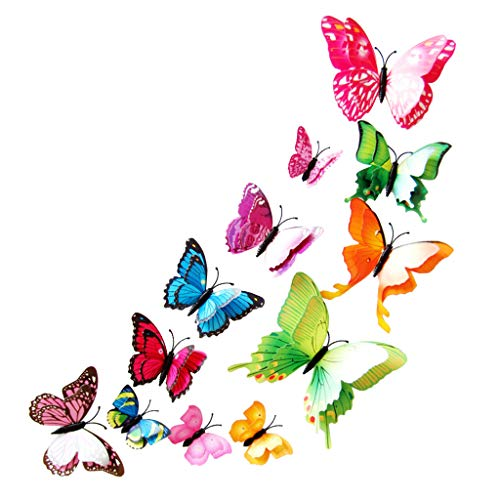 Kecar Double-Layer Mixed Color Simulation Butterfly Magnet Stereo Refrigerator Sticker, Decoration for Christmas Day (Multicolor)
