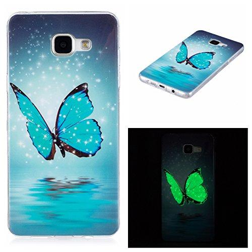 Qiaogle Telefono Case - Soft Custodia in TPU Silicone Case Cover per Samsung Galaxy A3 (2016) SM-A310 (4.7 Pollicie) - XS30 / Fantasia Farfalla