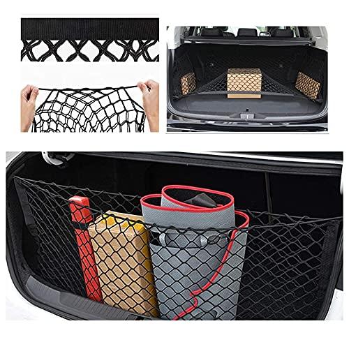 WSDF Rete Bagagliaio Auto 100 x 100 cm, Universale Multifunzionale Elastic Rete Portaoggetti con 4 Ganci per SUV, Van,Truck,Bagagliaio di Tronco di Auto