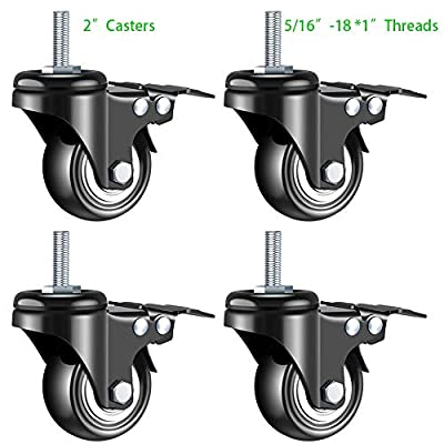 Stem Casters, DICASAL Double Brakes Black PU Imperial Inch Screw Thread 360° Swivel Caster Wheels for Furture Carts DIY Stands 4 Pack