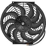 OCPTY Replacement 12Inch Universal Slim Fan Push Pull Electric Radiator Cooling 12V Mount Kit Plastic Black