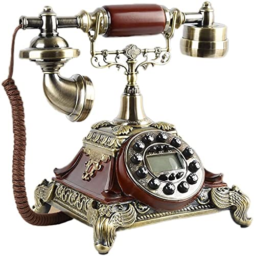 Teléfono con Cable Teléfono Retro Teléfono Antiguo Creativo Jardín Europeo Decoración del hogar Línea Fija Oficina Teléfono con Altavoz Teléfono inalámbrico (Color: Botón Redwood)