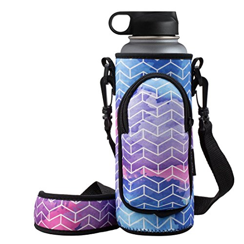 RoryTory Neoprene Water Bottle Sleeve Carrier Holder with Shoulder Strap, Pouch, Pocket & Carrying Handle (Fits 32oz / 40oz Hydro Flask, Nalgene, Juglug, Contigo, etc) - Geometric Design