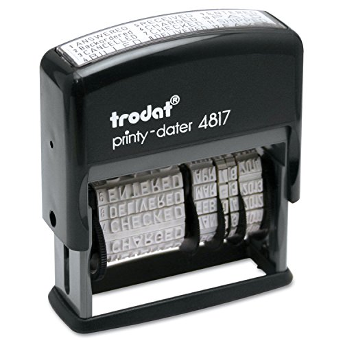 Trodat 4817 Date Stamp with 12 Changeable Messages (Red)