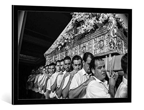 Kunst für Alle Cuadro con Marco: Nina Tvalchrelidze Virgen del Carmen Festival - Impresión artística Decorativa con Marco, 90x60 cm, Negro/Canto Gris