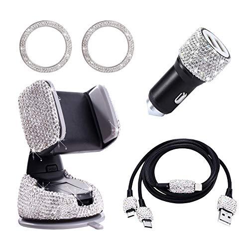 Accesorios Coche Interior Mujer, Incluye Cargador Coche USB Doble Carga Rapida Brillante, Soporte Móvil Coche, Bling Cable USB, Diamantes Decoracion Pegatinas, 5 Piezas (Blanco)