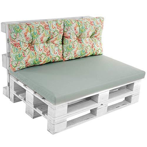 PATIO Palettenkissen Megara Lux 120 x 80 cm Auflagenset Polster für Palettenmöbel Pallettenkissen Sitzkissen Rückenkissen Gesteppt Outdoor/Indoor