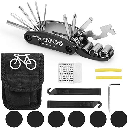 Muti-Function 16 in 1 Bike Cycling Repair Tool Kit Bike Tool Bag with Tire Pry Bars Rods & Tire Patch compact Bag Rods Bike Fix Cycling Allen Key Wrench tool Set for Mountain Bikes and Road Bikes
