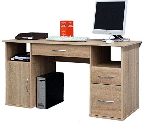 VCM Schreibtisch Tisch Computertisch Laptop PC Fach Schubladen Sonoma-Eiche Sägerau Büro Möbel 73x145x60 cm Tallinn