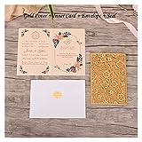 1 unids Elegante Corte Laser Invitaciones de la Boda Tarjeta de Encaje Flora Tarjetas de felicitación Personalizada Cumpleaños Decoración de la Boda Favor (Color : Fifty Sets Gold)