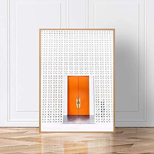 LWJZQT Nordic Art Posters en prints Retro Marokko witte deur canvas schilderij wandafbeeldingen voor woonkamer kunstwerk huis decoratie