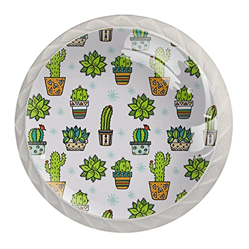 Manopola per cassetto Maniglione 4 pezzi Il cassetto dell'armadio in cristallo tira le manopole dell'armadio,Design con stampa in tessuto cactus